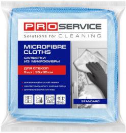 Серветка з мікрофібри для скла, 35 х 35см, 5шт., Pro Service